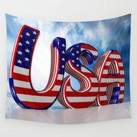usa Wall Tapestries featuring USA by Carlo Toffolo