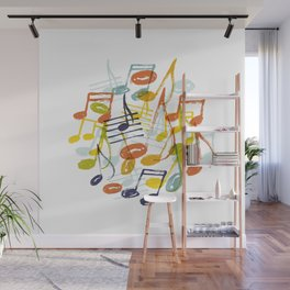 Hand drawn music notes Wall Mural