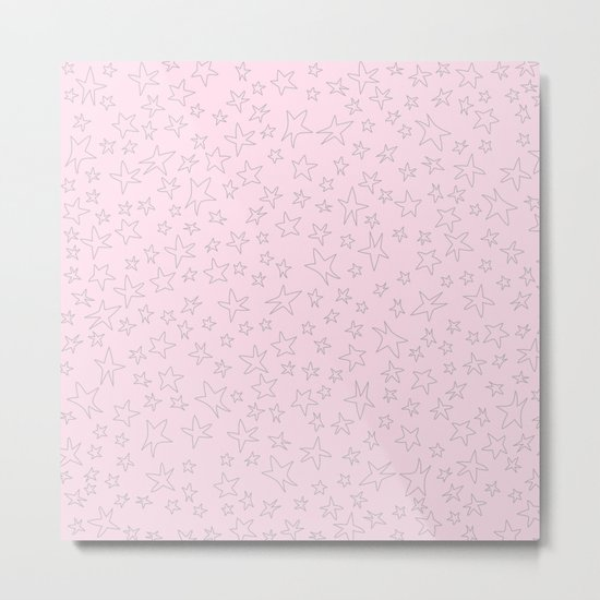 Grey handpainted little stars on pink background Metal Print
