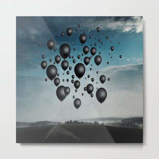 In Limbo - black balloons Metal Print