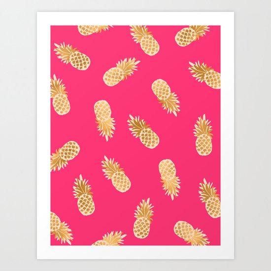 Gold Pineapples Pink Art Print