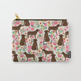 Labrador Retriever florals chocolate lab cute pet gifts must have labrador florals Carry-All Pouch