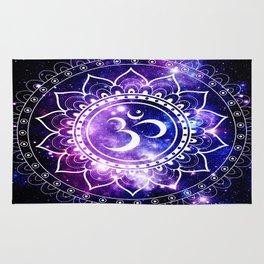 om mandala: purple blue space Rug