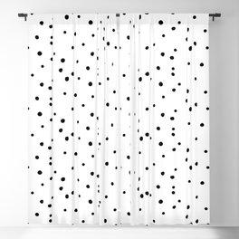 Dalmatian Polka Dots - White/Black Blackout Curtain