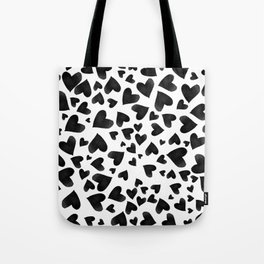 Modern black watercolor love hearts simple pattern Tote Bag