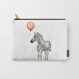 Baby Zebra with Red Balloon Carry-All Pouch