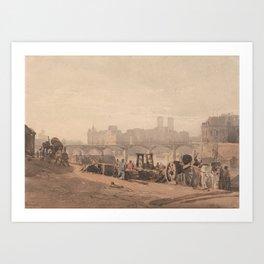 Ile de la Cite by Richard Parkes Bonington. Art Print