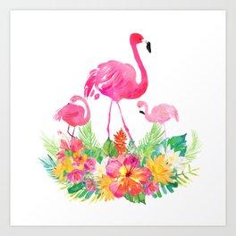 Pink flamingos & tropical flowers Art Print