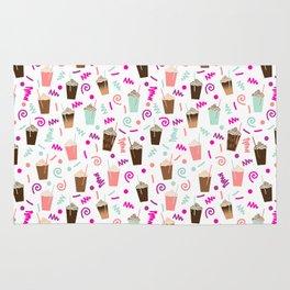Coffee party retro swirl zig zag symbols 80s rad neon hot pink iced coffees latte milkshake food Rug