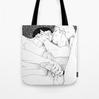 boys Tote Bags featuring Boys by vooduude