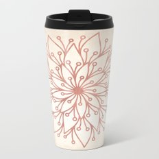 Mandala Rose Gold Petals on Cream Metal Travel Mug
