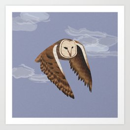 Owl at Dusk Art Print