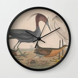 Blue Crane Little Egret Virginian Rail13 Wall Clock