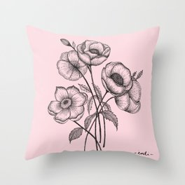 Palid Flowers  Throw Pillow