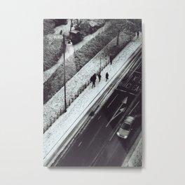 Snow London Skyview Photograph Black and White Print Metal Print