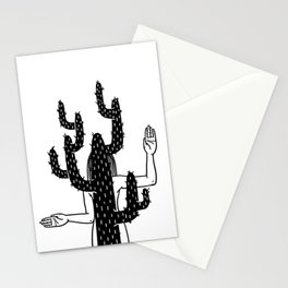 Girl imitating a cactus Stationery Cards