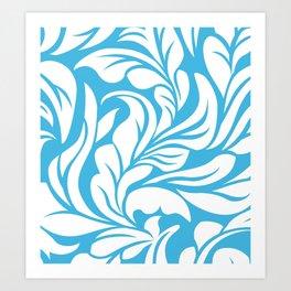 Sky Blue Flourishes Art Print
