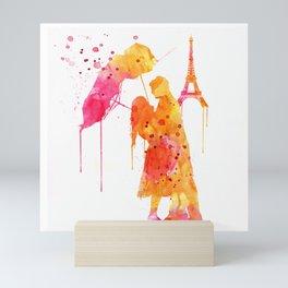 Watercolor Love Couple in Paris Mini Art Print