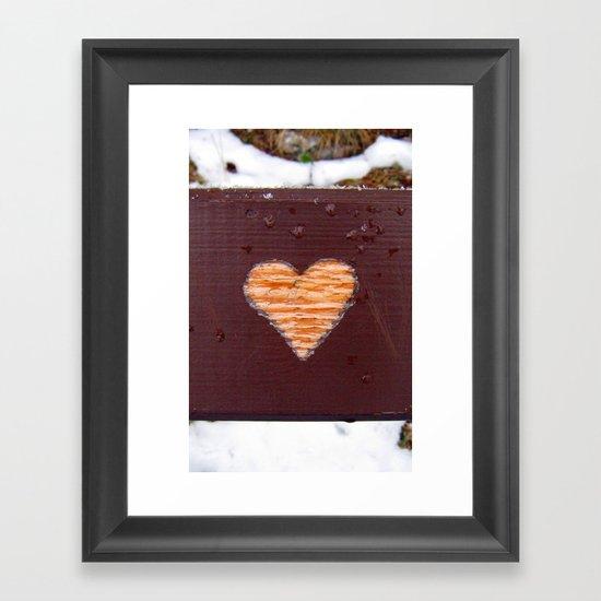 wooden heart. Framed Art Print