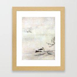 Kano Motonobu Flowers and Birds in a Spring Landscape Framed Art Print