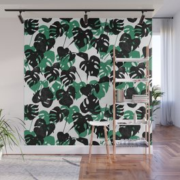 Monstera cheese plant linocut pattern minimal black and white house plants Wall Mural