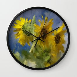 An Impression Of Sunflowers In The Sun Wall Clock