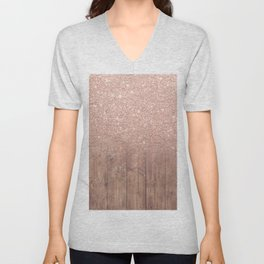 Modern faux rose gold glitter ombre brown rustic wood color block Unisex V-Neck