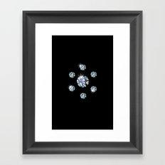 Diamond cluster black Framed Art Print
