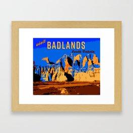 Visit Badlands Retro Postcard Framed Art Print