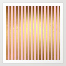 Striped- Pink and gold luxury stripes design Art Print