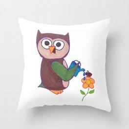 Cartoon Owl Throw Pillow