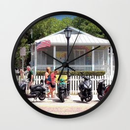 Motor Bikes and Picket Fence Wall Clock