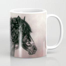 Beautiful Friesian stallion in a red mist Coffee Mug