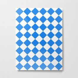 Large Diamonds - White and Dodger Blue Metal Print