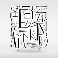 deco Shower Curtains featuring deco. by The Higgins Creative.