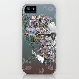 hipster floral skull 3 iPhone Case