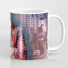 New York Man Seated City Background 2 Coffee Mug