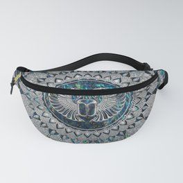 Egyptian Scarab Beetle Silver and Abalone Fanny Pack