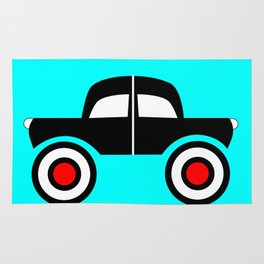 Black Car Two Directions Rug