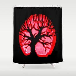 Happy halloweeN. Brain Tree Red Shower Curtain