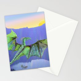 Green Crystal Energy Dragon Sunrise Stationery Cards