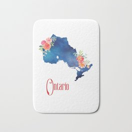 Ontario - Floral Watercolor Bath Mat