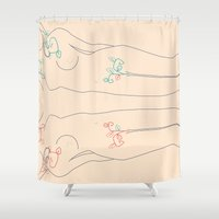 mirror Shower Curtains featuring Mirror by carosurreal