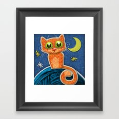 Fabric Cat Framed Art Print