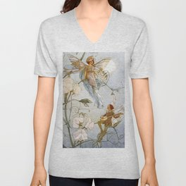 """Fairies Mid Sweet Peas"" by Margaret Tarrant Unisex V-Neck"