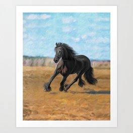 Drawing horse Art Print