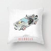 delorean Throw Pillows featuring The Delorean by Josh Ln