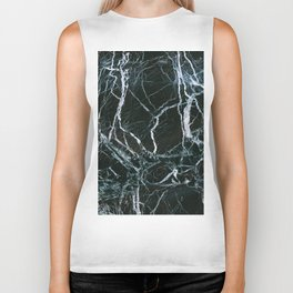 Black Marble With White Ribbons Biker Tank