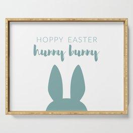 Hoppy Easter Hunny Bunny Green Serving Tray