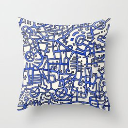 Begin/End Series in Blue Throw Pillow